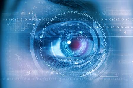Foto de Close up of female digital eye with security scanning concept - Imagen libre de derechos
