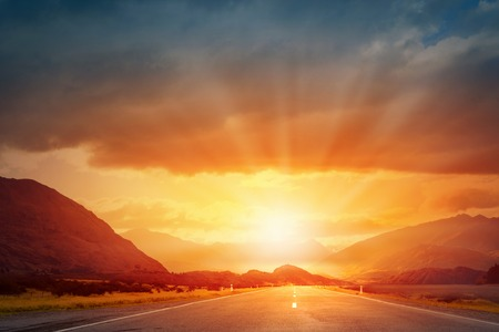 Photo for Picturesque landscape scene and sunrise above road - Royalty Free Image
