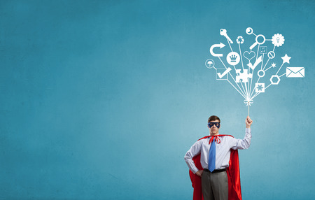 Photo for Young man in superhero costume representing creativity concept - Royalty Free Image
