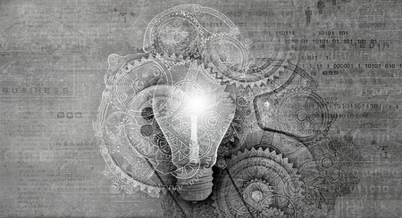 Photo for Creative light bulb with drawn charts and graphs - Royalty Free Image