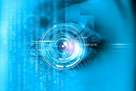 Photo for Close up of woman's eye scanned for access - Royalty Free Image