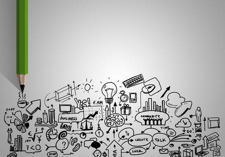 Foto de Planning concept with pencil drawing business strategy sketches - Imagen libre de derechos
