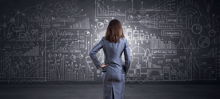 Photo pour Rear view of businesswoman looking at chalk business sketches on wall - image libre de droit