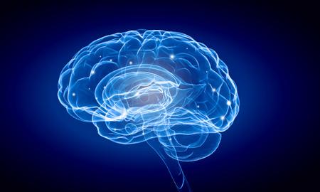 Foto de Science image with human brain on blue background - Imagen libre de derechos