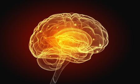 Foto de Science image with human brain on dark background - Imagen libre de derechos