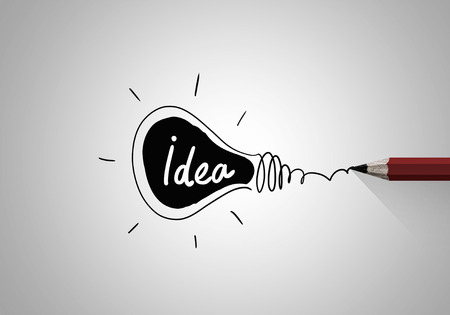 Photo for Idea concept image with pencil drawing light bulb - Royalty Free Image
