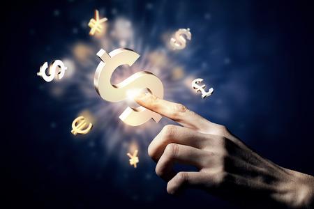 Photo pour Hand touching money currency symbol with finger - image libre de droit