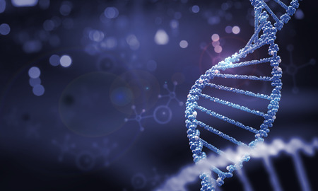 Foto de Biochemistry background concept with high tech dna molecule - Imagen libre de derechos