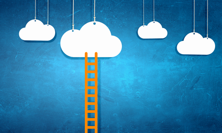 Photo pour Conceptual image with ladder leading to white blank cloud - image libre de droit