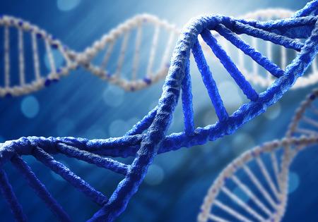 Foto de Concept of biochemistry with dna molecule on blue background - Imagen libre de derechos