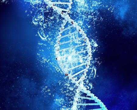 Foto de DNA molecule in clear crystal blue water - Imagen libre de derechos