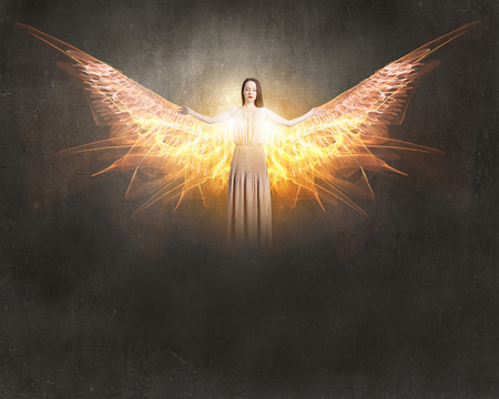 Photo for Attractive woman with angel wings on sky background - Royalty Free Image