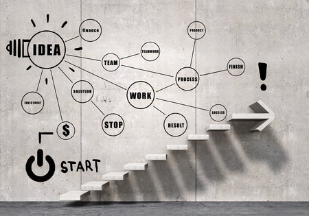 Foto de Business strategy plan over ladder leading to success - Imagen libre de derechos