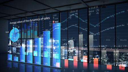 Foto de Modern office window view with virtual market infographs - Imagen libre de derechos