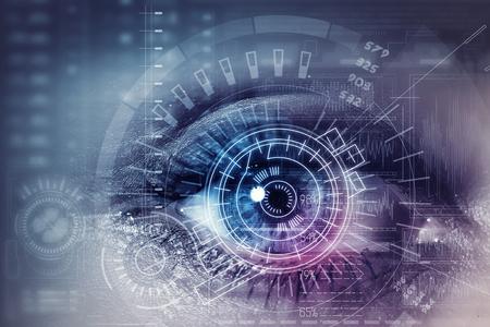 Photo pour Close up of woman eye in process of scanning - image libre de droit