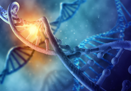 Foto de Biochemistry science concept with DNA molecule on blue background - Imagen libre de derechos