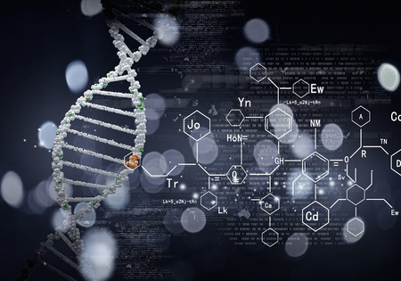 Foto de High technology DNA molecule background as biochemistry science concept - Imagen libre de derechos