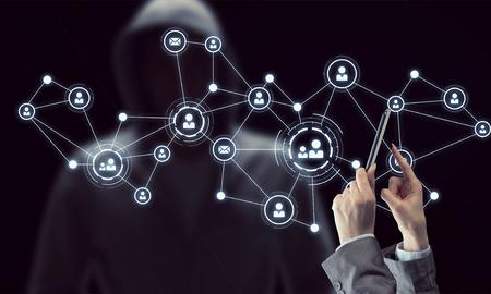 Photo pour Close of businesswoman hands using tablet pc and connection lines at background. 3D rendering - image libre de droit