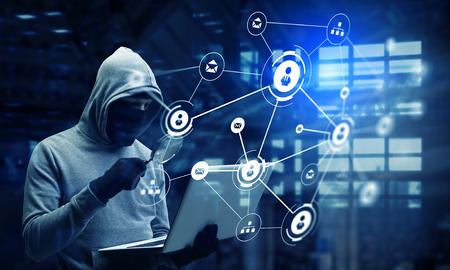 Photo pour Network security and privacy crime. Mixed media - image libre de droit