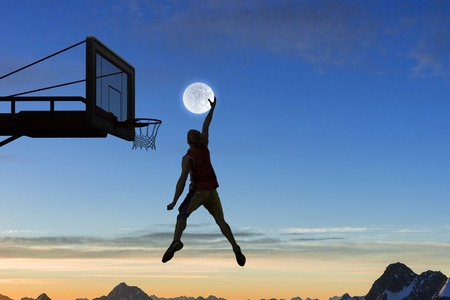 Foto de Silhouette of basketball player outdoor throwing ball . Mixed media - Imagen libre de derechos