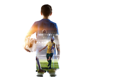 Foto de Little soccer champion. Mixed media - Imagen libre de derechos