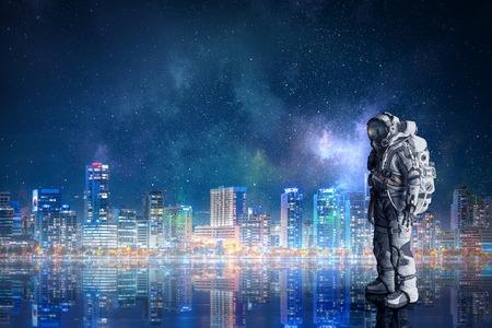 Photo pour Space suit design. Mixed media - image libre de droit
