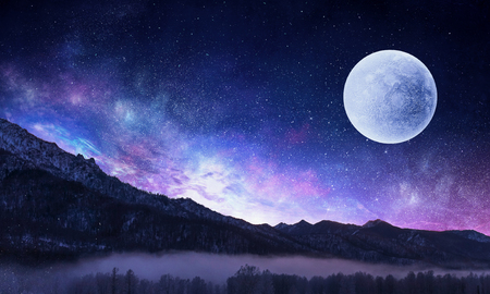 Photo pour Starry sky and moon. Mixed media - image libre de droit