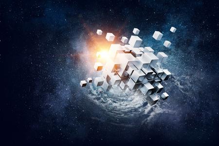 Photo pour High tech cube figure on space background. 3d rendering - image libre de droit