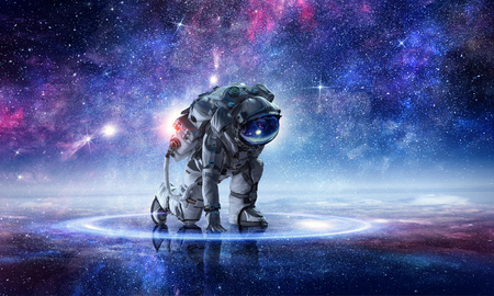 Photo pour Astronaut starting to run. Mixed media - image libre de droit