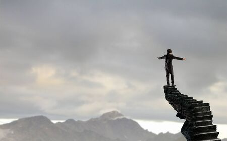 Foto de Blind businessman stepping carefully to find his way. Mixed media - Imagen libre de derechos