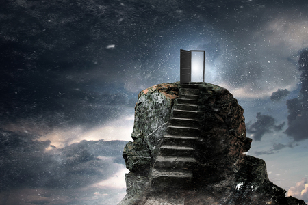Photo pour Stone stairway outdoors as symbol of success and progress. Mixed media - image libre de droit