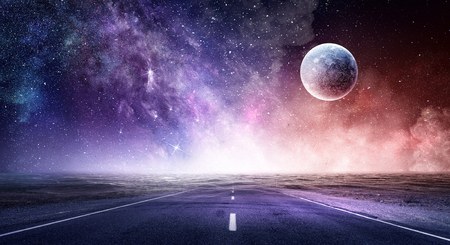 Photo pour Abstract background image with space planets and natural landscape. - image libre de droit