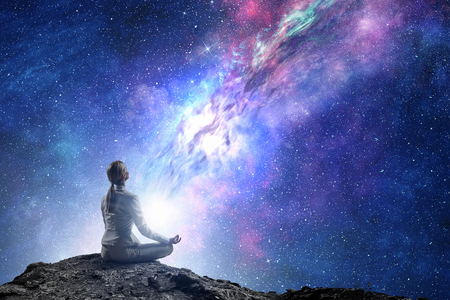 Photo pour Yoga as physical and spiritual therapy . Mixed media - image libre de droit