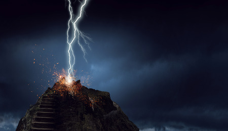 Photo pour Lightning striking stone stairway going to sky. Mixed media - image libre de droit