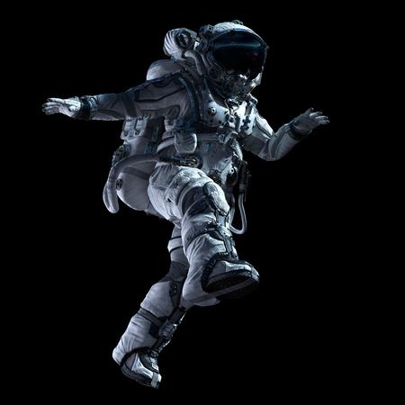 Foto de Spaceman in white suit on black background. Mixed media - Imagen libre de derechos