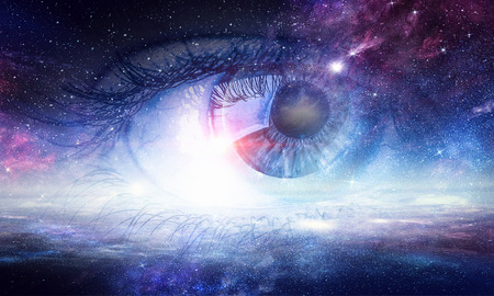 Photo for Human eye and space starry fantasy background - Royalty Free Image
