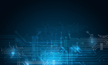 Foto per Blue technology background with circuit board concept - Immagine Royalty Free