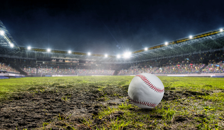 Photo for Sport stadium with green grass and baseball ball. Mixed media - Royalty Free Image