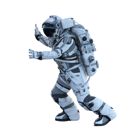Photo for Spaceman in suit on white background. Mixed media - Royalty Free Image