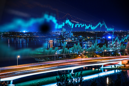 Foto de Forex graph and amazing night view of business city - Imagen libre de derechos