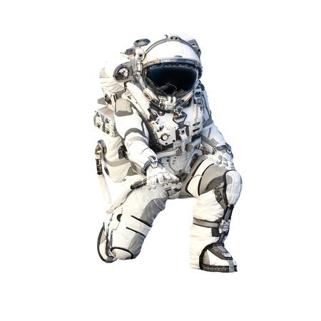 Foto de Spaceman in suit on white background. Mixed media - Imagen libre de derechos