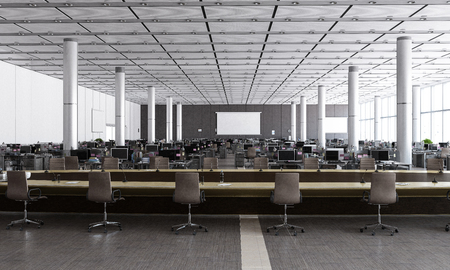 Photo for Modern office of open space plan with no people. Mixed media - Royalty Free Image