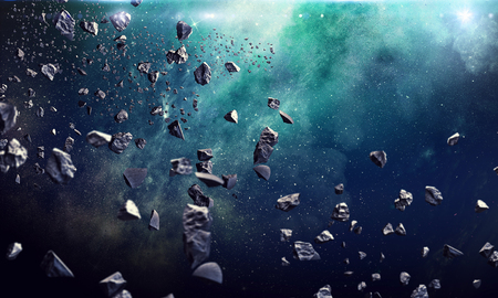 Photo pour Asteroids flying in starry space. Astronomy concept - image libre de droit