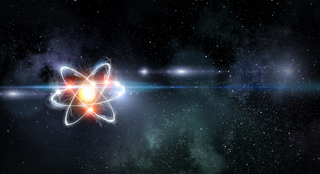 Foto de Atom molecule on space background as science concept. 3d rendering - Imagen libre de derechos