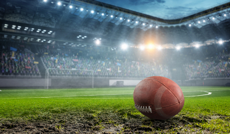 Photo pour RUgby game concept. Mixed media - image libre de droit