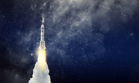 Foto de Rocket space ship . Mixed media - Imagen libre de derechos