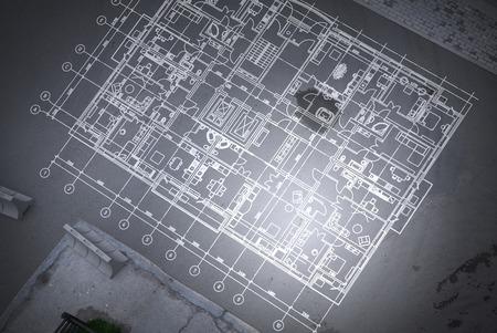 Foto de Architecture blueprint background. Mixed media - Imagen libre de derechos