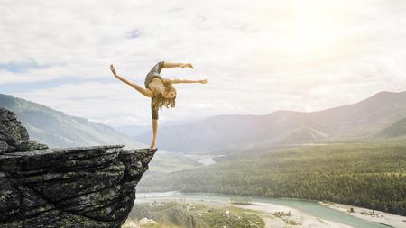 Foto de Extreme yoga practice. Mixed media - Imagen libre de derechos