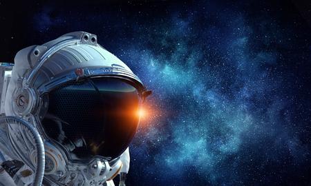 Photo pour Astronaut pioneer doing research. Mixed media - image libre de droit
