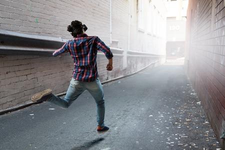 Foto de Try virtual reality. Mixed media - Imagen libre de derechos